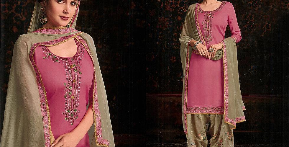 PartyWear Designer Pink Color Cotton Patiala Suit
