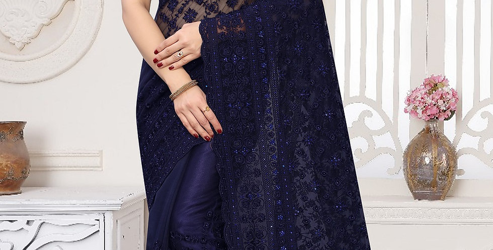Navy Blue Heavy Resham Embroidery Work with Heavy Blouse