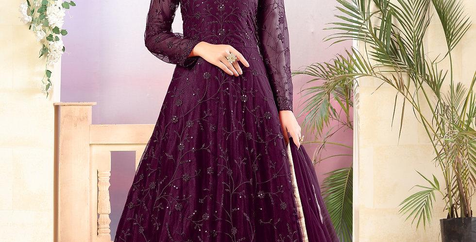 Very Beautiful Heavy Designer  Wine Color Floor Length Suit