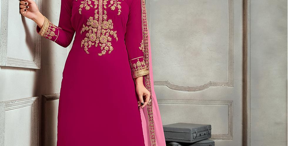 Phillauri Patiyala Blooming Georgette Salwar Kameez Pink Color