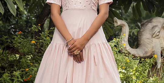 Semi Stiched Designer Floor Length Gown In Pastel Pink Color
