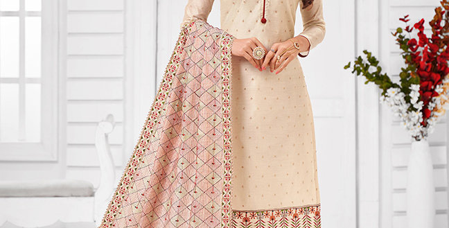 Here Is A Pretty Designer  Cream  Color Straight Salwar Suit