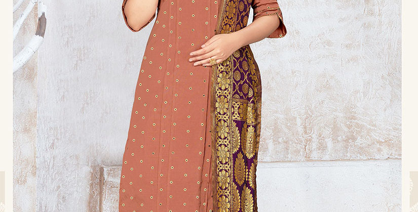 Hera is A  Pretty Designer Beige and Rani Purple Color  Straight Salwar Suit