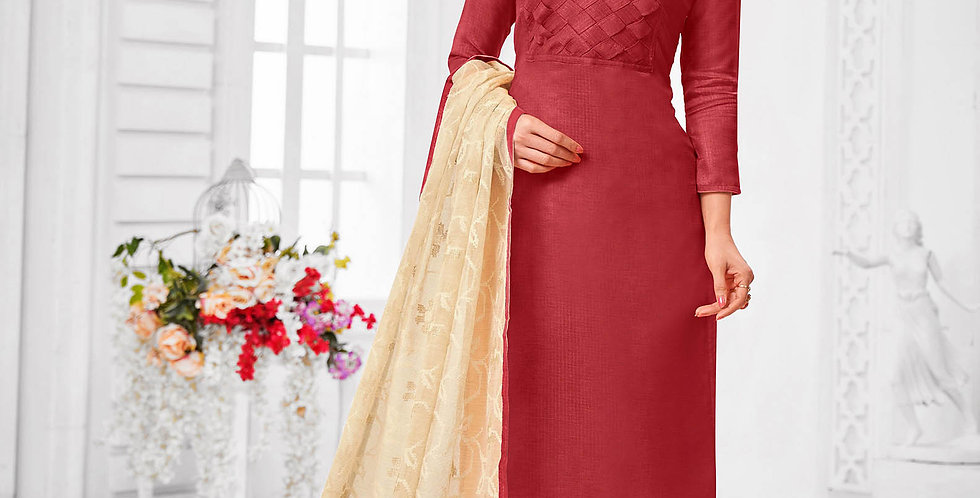 Here Is A Pretty Designer  Maroon Color Straight Salwar Suit