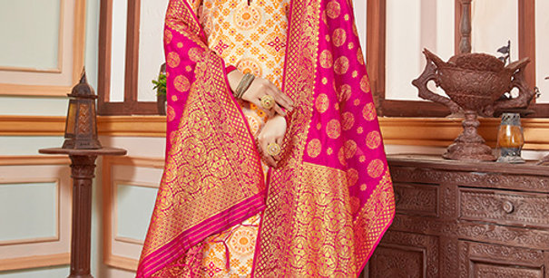Elegant Looking Silk Based Cream Color Straight Salwar Suit