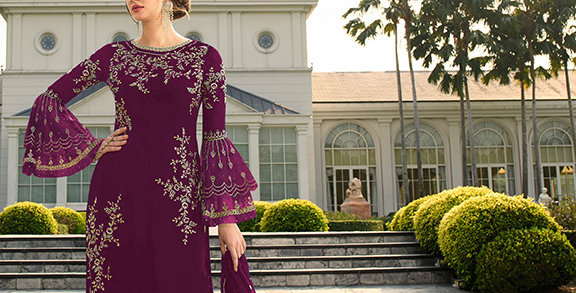 Here Is A Pretty Heavy Designer  Wine Color Straight Salwar Suit