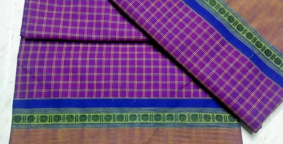 Purple Korvai cotton Sarees