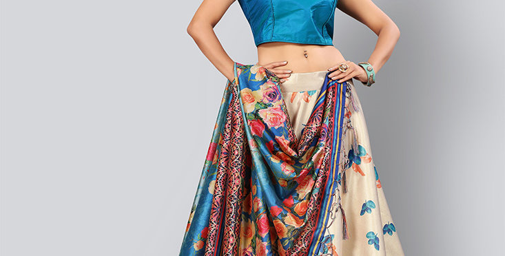 Pretty  Digital Printed C ream & Blue Colored Designer Lehenga Choli Set