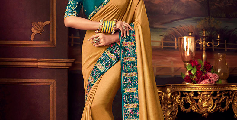 Beautiful Designer Saree Mustard Yellow Color Paired With Teal Blue Color Blouse