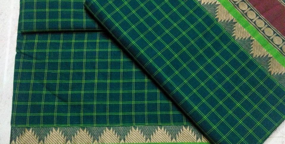 Teal Green Korvai cotton Sarees