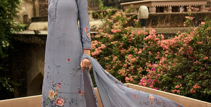 Pretty Causal Wear Light Grey Color Straight  Salwar Suit  Dress Material