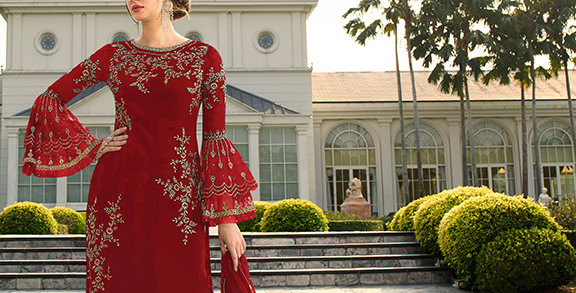 Here Is A Pretty Heavy Designer  Red Color Straight Salwar Suit