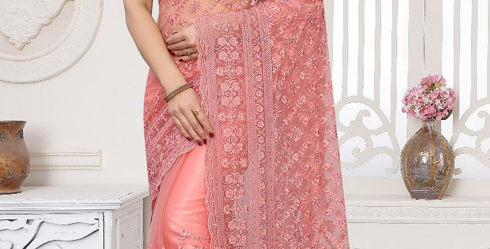 Light Pink Heavy Resham Embroidery Work with Heavy Blouse