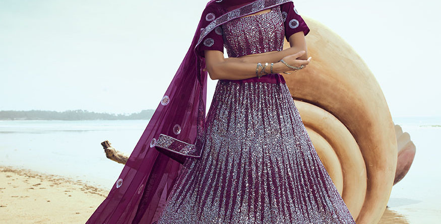 Pretty Heavy Embriodery Wine Colored  Designer Lehenga Choli Set