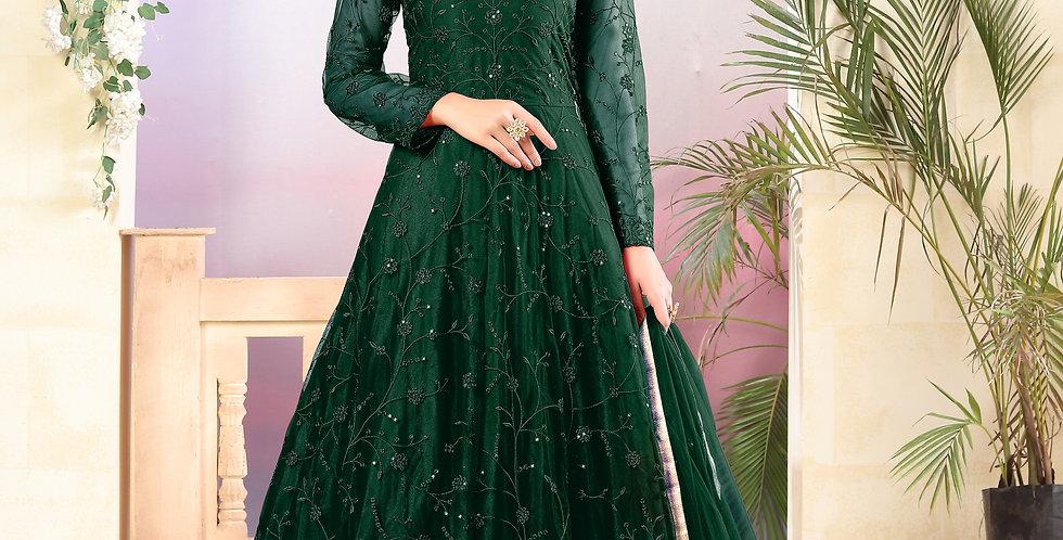 Very Beautiful Heavy Designer Dark Green Color Floor Length Suit