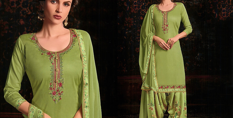 PartyWear Designer Light  Green Color Cotton Patiala Suit