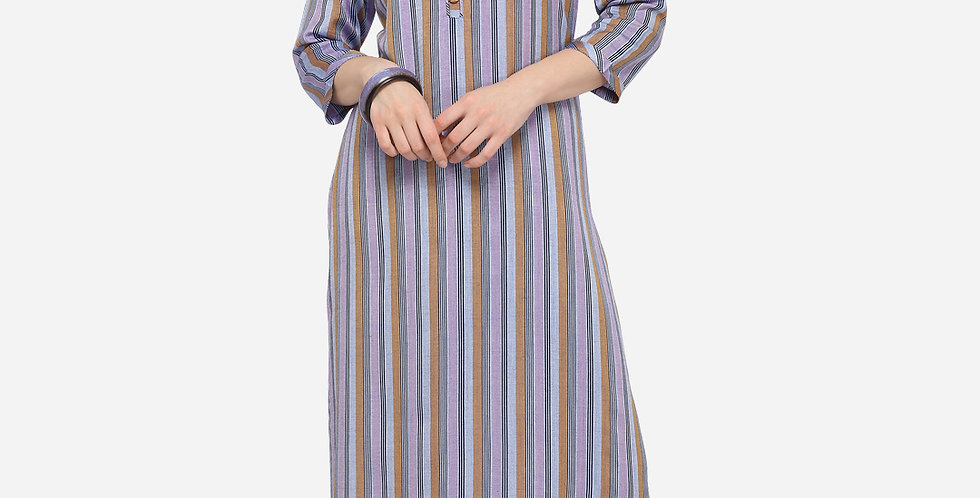 Readymade Straight Kurti In Purple Color Fabricated On Cotton