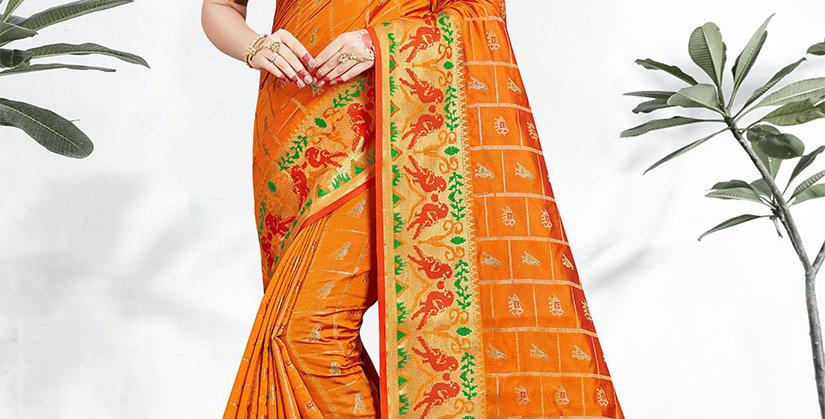 Uniqe Style Pretty Designer Orange Colored Heavy�Weaved Saree with Blouse