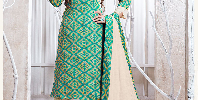 Hera is A  Pretty Designer Sea Green and Cream Color  Straight Salwar Suit
