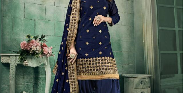 New stylish Navy Blue heavy Patiyala Suit Collection with Gota Patti work