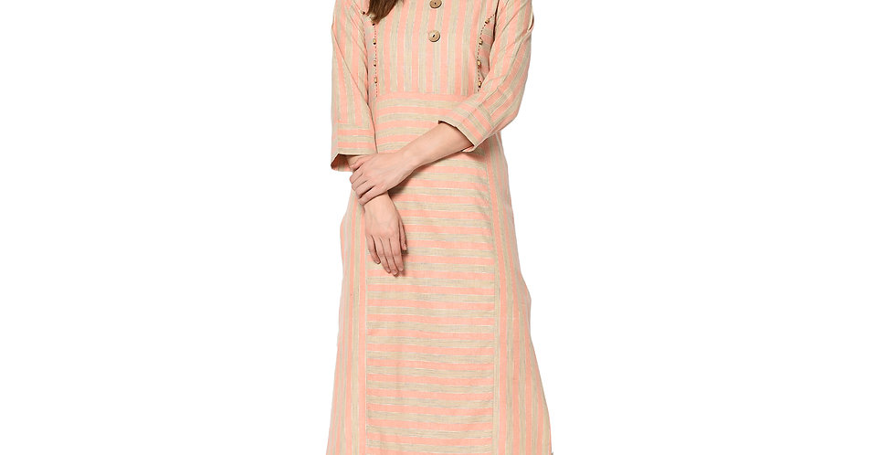 Readymade Straight Kurti In Peach Color Fabricated On Cotton