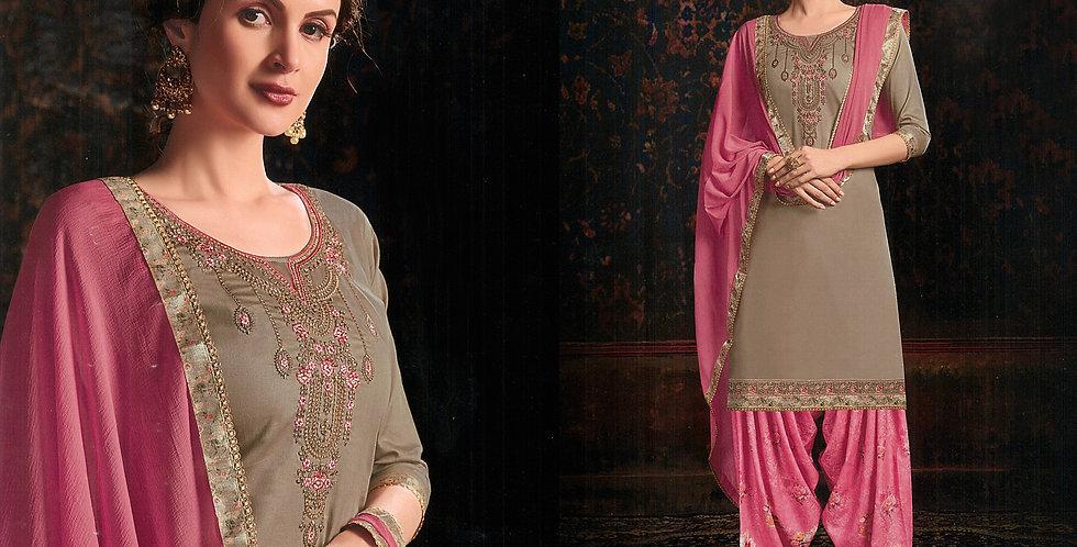 PartyWear Designer Sand Grey Color Cotton Patiala Suit