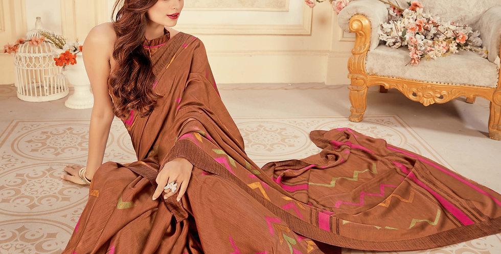 Brown Color Satin Silk Saree and Printed Work