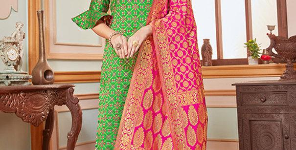 Elegant Looking Silk Based Green Color Straight Salwar Suit