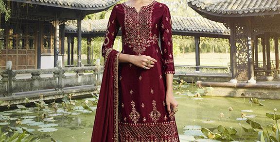 Pretty Designer Maroon Color Straight Salwar Suit