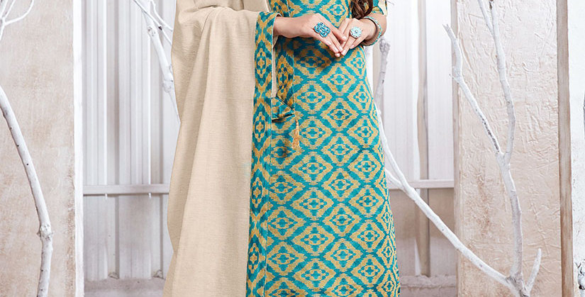 Hera is A  Pretty Designer Blue and Off-White Color  Straight Salwar Suit