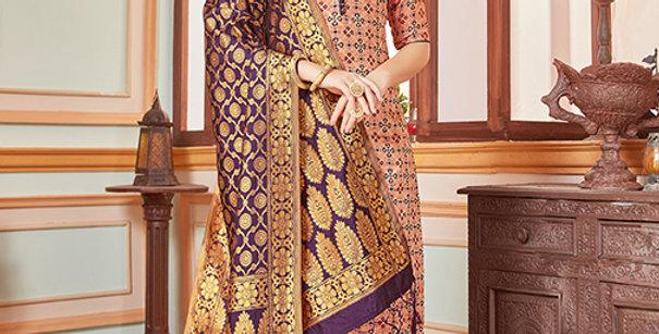 Elegant Looking Silk Based Beige  Color Straight Salwar Suit