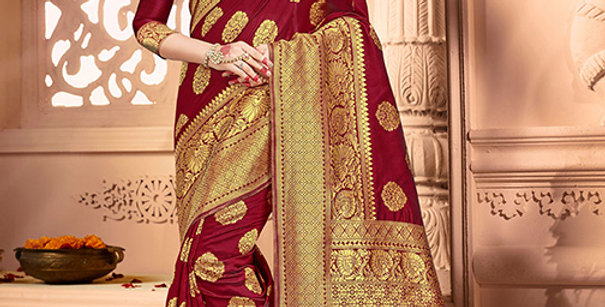 Uniqe Style Pretty Designer Maroon Colored Heavy�Weaved Saree with Blouse