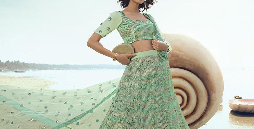 Pretty Heavy Embriodery Pastel Green Colored  Designer Lehenga Choli Set