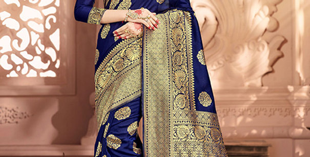 Uniqe Style Pretty Designer Navy Blue Colored Heavy�Weaved Saree with Blouse