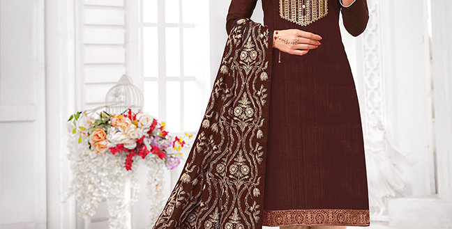 Here Is A Pretty Designer  Brown Color Straight Salwar Suit