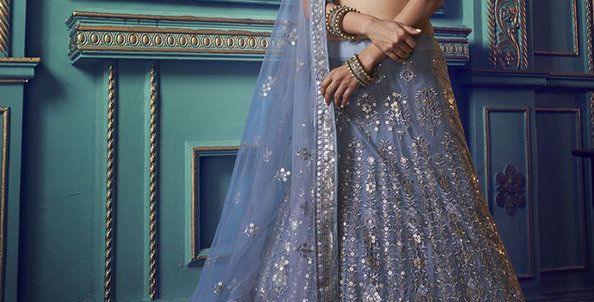 Pretty and Trendy Heavy Designer Blue  Color Lehenga Choli Set