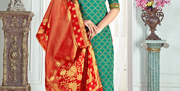 Pretty Causal Wear Sea Green Color Straight Salwar Suit
