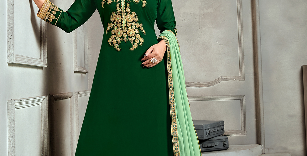 Phillauri Patiyala Blooming Georgette Salwar Kameez Green Color