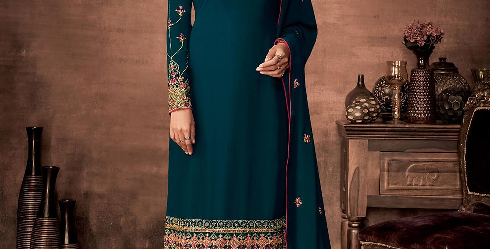 PartyWear Is A Very Pretty Designer  Teal Blue Color Straight Suit