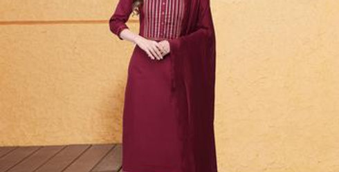 Buy magenta Jam Silk Cotton With Embroidery Work And Gota Patt