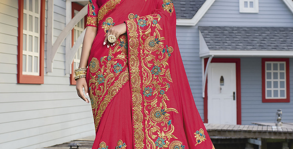 Heavy Designer Saree In Dark Pink Color with Art Silk Fabricated