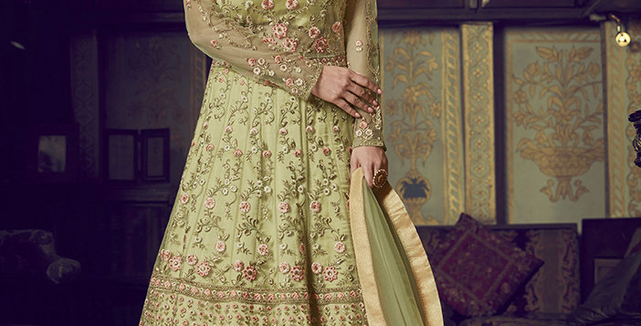 Uniqe Style Light Green Art Silk Floor Length  Designer gown with net Duppatta