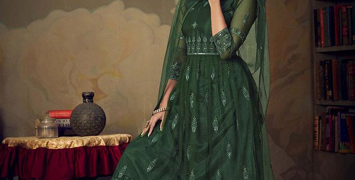 Grab This Very Beautiful Heavy Designer Dark Green Color Sharara Suit