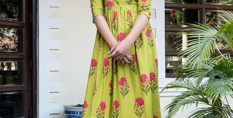 Partywear Designer Green Yellow Pure Maslin Gown