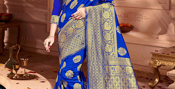 Uniqe Style Pretty Designer Royal Blue Colored Heavy�Weaved Saree with Blouse