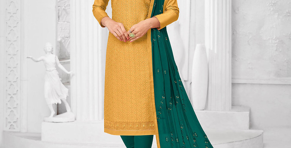 Here Is A Pretty Designer  Mustard Yellow Color Straight Salwar Suit