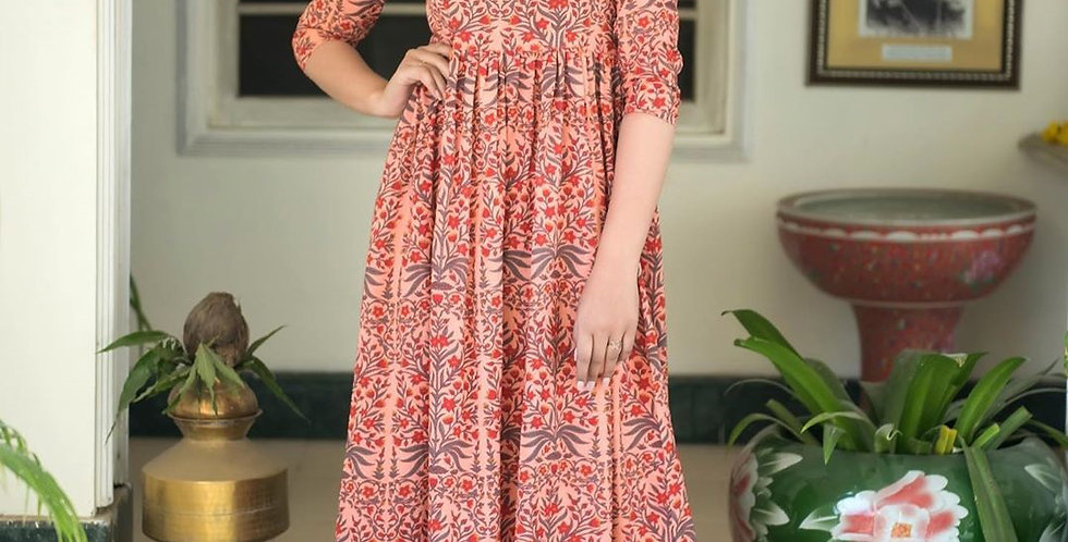 Partywear Designer Light Coral Pure Maslin Gown