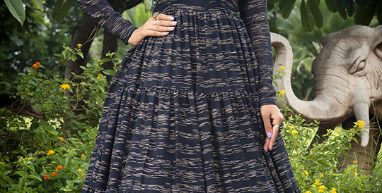 Semi Stiched Designer Floor Length Gown In Navy Blue Color