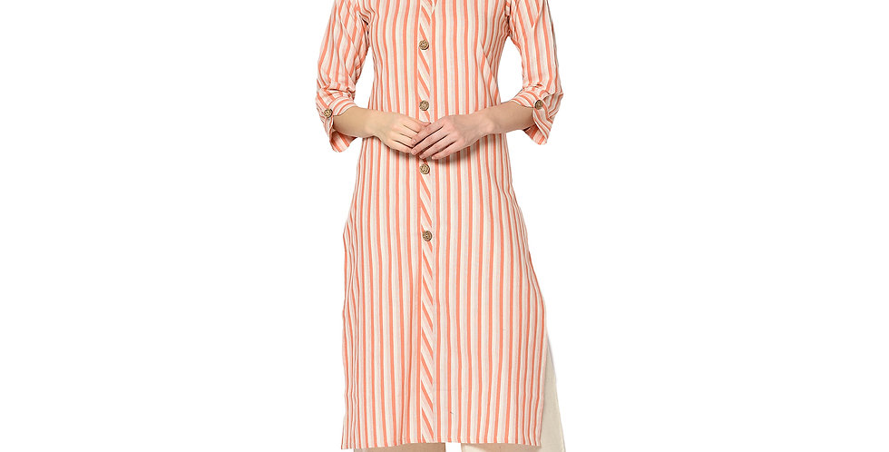 Readymade Straight Kurti In Orange Color Fabricated On Cotton
