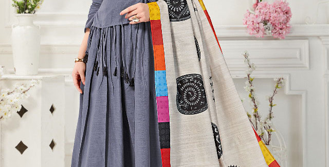 Festive Season With Beauty  Dark Grey  Color Readymade Gown with Duppatta